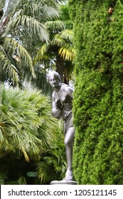 A curious statue overhears you from behind a tree