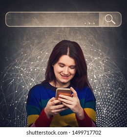 Curious woman using smartphone browsing network search bar with loupe to find useful information and data. Internet searching engines, modern technology and virtual life and networking concept.
