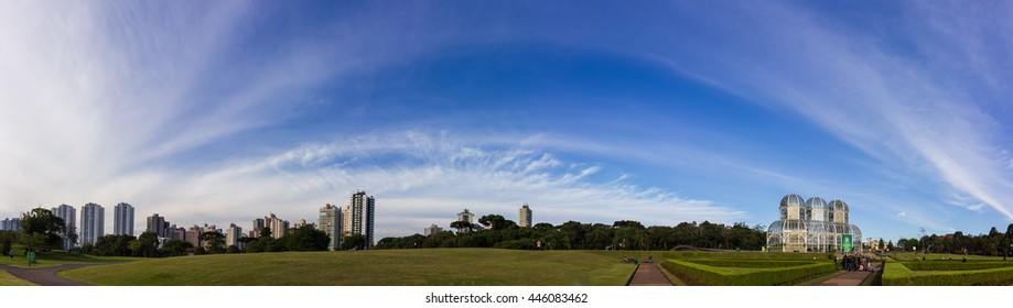 CURITIBA, BRAZIL - APRIL 28, 2016: Panoramic view of Botanical Garden and Curitiba City in Parana, Brazil with many tourists visiting the place.
