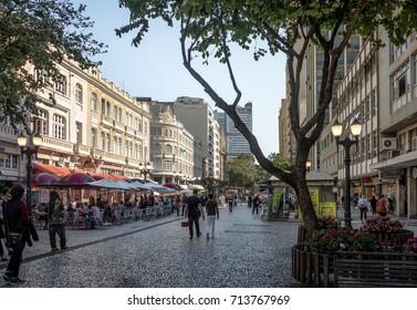 CURITIBA, BRAZIL - Aug 23, 2017: Flower Street (Rua das Flores) and Palacio Avenida (Avenida Palace) - Curitiba, Parana, Brazil