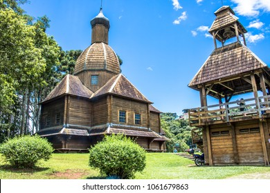 Curitiba, Brazil, December 30, 2017: Ukrainian Catholic Church is a tribute to European immigrants in Curitiba, and is located in Tingui Park, open for public as a museum and memorial