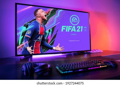 Curitiba, Paraná, Brazil - February 9, 2021: FIFA 21 game on the PC. FIFA 21 is an online multiplayer video game developed by EA Sports. Selective focus..