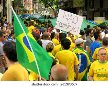 CURITIBA, BRAZIL - MARCH 15, 2015: 80,000 brazilians take the streets of Curitiba to protest against widespread government corruption and demand impeachment of the brazilian president Dilma Rousseff.