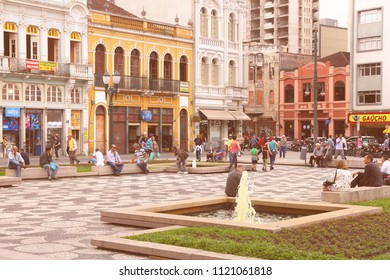 CURITIBA, BRAZIL - OCTOBER 7, 2014: People shop in Curitiba, Brazil. Curitiba is the 8th most populous city of Brazil with 1.76 million inhabitants.