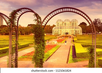 CURITIBA, BRAZIL - OCTOBER 7, 2014: People visit famous Botanical Garden of Curitiba, Brazil. The garden was opened in 1991 and covers 240.000 m2 in area.