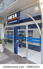CURITIBA, BRAZIL - OCTOBER 7, 2014: Caixa Economica Federal Bank branch in Curitiba. Caixa is the 4th largest bank in Brazil by assets (some 630 billion USD in 2014).