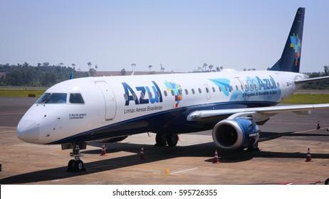 CURITIBA, BRAZIL - OCTOBER 9, 2014: Azul Brazilian Airlines Embraer ERJ-190 at Curitiba Airport, Brazil. In 2013 Azul had 17 percent of domestic market share in terms of passengers per kilometre flown
