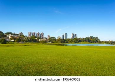 Curitiba, Parana, Brazil - April 10th: Par. City park view in South America city. Parque Barigui, Barigui Park. Morning nature scene. Daylight panorama.  Colorful landscape. - Shutterstock ID 1956909532