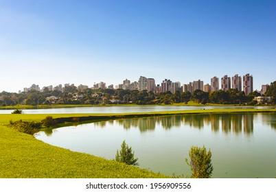 Curitiba, Parana, Brazil - April 10th: Par. City park view in South America city. Parque Barigui, Barigui Park. Morning nature scene. Daylight panorama.  Colorful landscape.