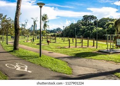 Curitiba, Parana, Brazil, December 31, 2017. People on Barigui Park, Curitiba city
