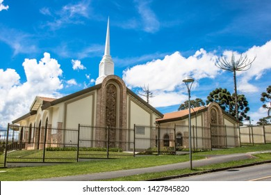 Curitiba, Parana, Brazil, January 01, 2018. Temple of the Church of Jesus Christ of Latter-day Saints, which has the missionaries known as Mormons, in Curitiba,