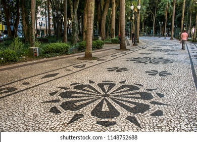 Curitiba, Parana, Brazil, January 03, 2018. Mosaic made with portuguese stones in the pavement of General Osório square, downtown Curitba