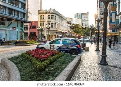 Curitiba, Parana, Brazil, January 03, 2018. Caro of Metropolitan Civil Police Guard in XV of November street, or Flowers street in downtown Curitiba.