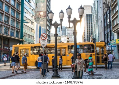 Curitiba, Parana, Brazil, January 03, 2018. Pedestrian semaphore and zebra cros in XV of November street, ou flowers street in downtown of Curitiba