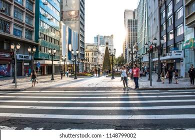 Curitiba, Parana, Brazil, January 03, 2018. Pedestrian semaphore and zebra cros in XV of November street, ou flowers street in downtown of Curitiba