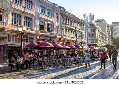 Curitiba, Parana, Brazil, January 03, 2018. People eat at restaurant in XV of November street, ou flowers street in downtown of Curitiba