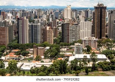 Curitiba, Parana, Brazil, January 03, 2018. Skyline of Curitiba city in Parana State