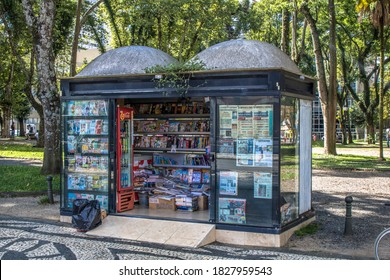 Curitiba, Parana, January 03, 2018. View of a newsstand in a square in downrown of Curitiba.