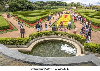 Curitiba, PR, Brazil, December 30, 2017. Tourists in the Botanical Garden of Curitiba, officially denominated Botanical Garden Maria Garfunkel Richbieter, in the city of Curitiba