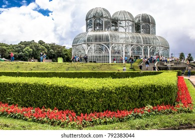 Curitiba, PR, Brazil, December 30, 2017. Tourists in the Botanical Garden of Curitiba,  has an iron and glass conservatory inspired by the Crystal Palace and was inaugurated in 1991 in the Curitiba