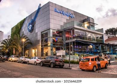 Curitiba, PR, Brazil, January 03, 2018. Facade of the restaurant Hard Rock cafe in the neighborhood of Batel, central region of Curitiba, Parana state.