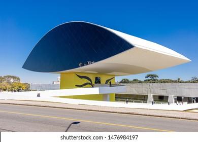 Curitiba/Parana/Brazil - AGO 03 2019: Partial view of Oscar Niemeyer Museum