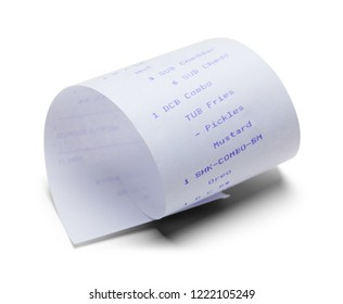 Curled Fast Food Receipt Isolated on a White Background.