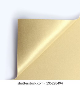 Curled golden page corner ready for your design