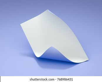 Curled paper sheet isolated on purple background. 3d rendering