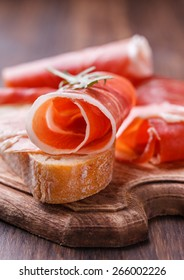 Curled Slices of  Prosciutto .selective focus