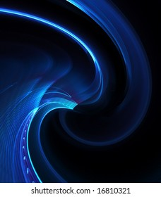Curling, fibrous blue texture- fractal abstract background