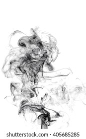 curls of black smoke on a white background