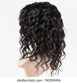 Curly black human hair lace based wig