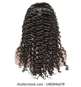 curly black human hair weaves extensions lace wigs on fake model