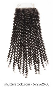 Curly black virgin human hair weave extensions lace closure
