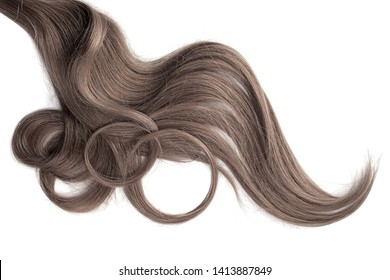 Curly brown hair isolated on white background. Circle shaped
