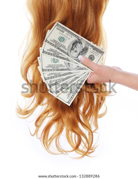curly brown hair and money in hand over white background, dollars bills, hair salon