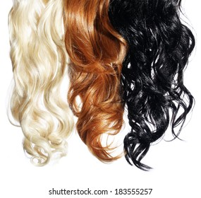 Curly Hair isolated in white. Palette. Colors Set. Tints