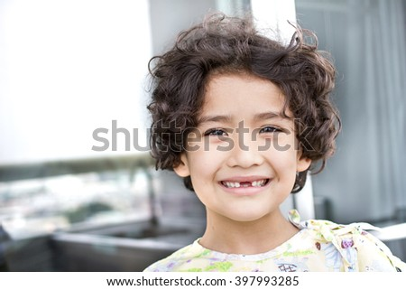 Curly Hair Kid Lost Teeth Toned Stock Photo Edit Now 397993285