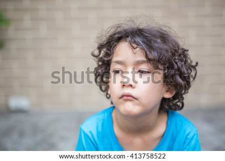 Curly Hair Kid Many Mood Toned Stock Photo Edit Now 413758522