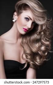 Curly hair woman face beauty portrait