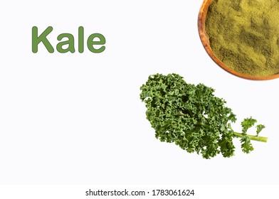 Curly kale leaves and powder - Brassica oleracea var.