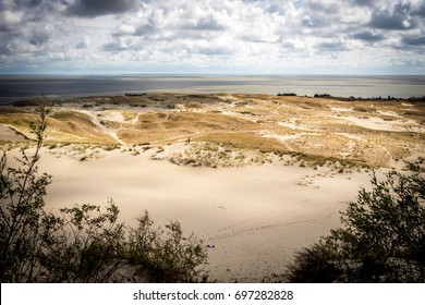Curonian Spit National Park in Lithuania. Dunes. This exact place is a border between Lithuania and Russia