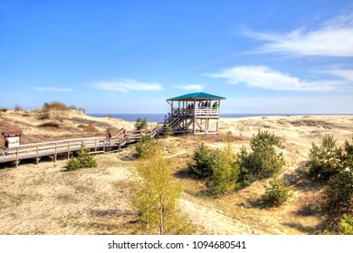 CURONIAN SPIT, RUSSIA - May 02.2018: Kaliningrad region. View of the Curonian Spit, from the height of the dune Efa. Special observation deck for tourists
