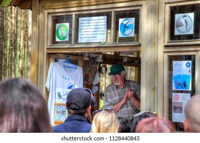 CURONIAN SPIT, RUSSIA - May 02.2018: The Curonian Spit National Park. Ornithological station of Fringilla. Scientist lectures on ornithology