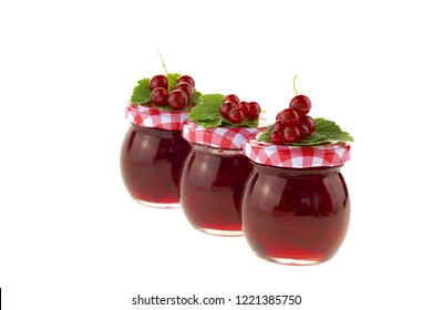 currant jam.three jars of berry jam in a row.red currant jam and red currant with leaves isolated on white background. Berry season. Currant crop