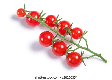 Currant sweet pea tomatoes (Solanum pimpinellifolium) cluster. Clipping paths, shadow separated, top view