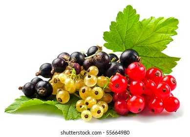 Currants with green leafs isolated on white background. Close up, shallow deep of field.