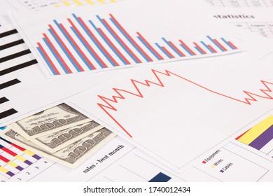 Currencies dollar with downward graphs representing financial crisis caused by coronavirus. Covid-19. Sars-CoV-2. 2019-nCoV