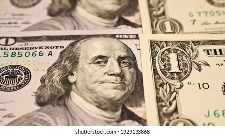 Currency American dollars - paper banknotes. Money background.
